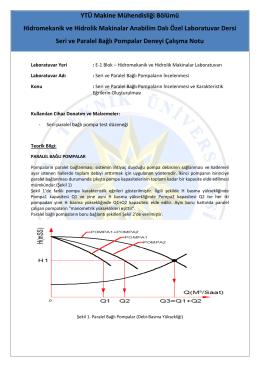 Pompa Deneyi - Hazırlık Notu - Hidromekanik ve Hidrolik Makinalar