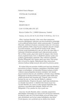 Gabriel Garcia Marquez YÜZYILLIK YALNIZLIK ROMAN Türkçesi