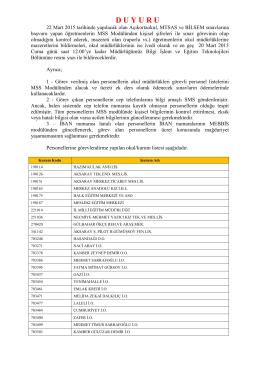 Merkezi Sistem Sınav Duyurusu - Aksaray Milli Eğitim Müdürlüğü