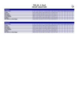 Kayıt Tarihi : 28.03.2015 - Eğitim Bursu Sınavı 5. Sınıf Cevap Anahtarı