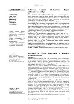metabolik sendrom ve erektil disfonksiyon