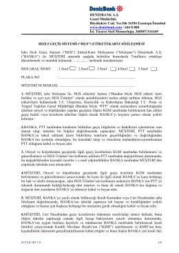 s-167 hızlı geçiş sistemi etiketi-kartı sözleşmesi