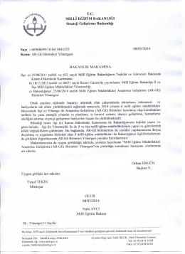 İl Milli Eğitim Müdürlükleri AR-GE Birimi Yönergesi