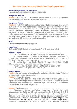 Şartname - 4.ünsal tülbentçi matematik yarışması