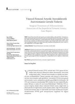 Yüzeyel Femoral Arterde Aterosklerotik Anevrizmanin Cerrahi Tedavisi