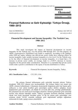 Finansal Kalkınma ve Gelir Eşitsizliği: Türkiye Örneği, 1980-2012