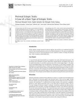 Perineal Ectopic Testis - Istanbul Medical Journal