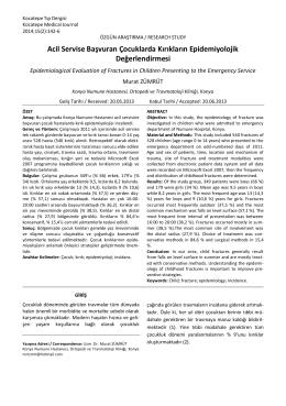 Acil Servise Başvuran Çocuklarda Kırıkların Epidemiyolojik