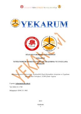 YEKARUM Hakkında - Süleyman Demirel Üniversitesi