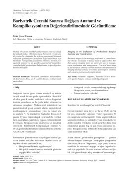 Bariyatrik Cerrahi Sonrası Değişen Anatomi ve