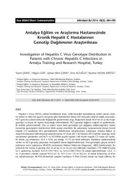 Antalya Eğitim ve Araştırma Hastanesinde Kronik Hepatit C