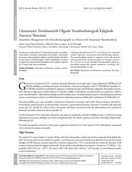 Glanzmann Trombastenili Olguda Tromboelastografi