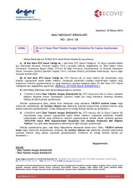 2014-29 20 ve 21 Sayılı ÖTV Sirkülerleri İle Yapılan Açıklamalar