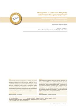 Ventriküler Aritmi Sendromlarının Acil Serviste Yönetimi