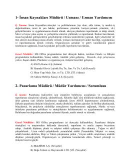 1- İnsan Kaynakları Müdürü / Uzmanı / Uzman Yardımcısı 2