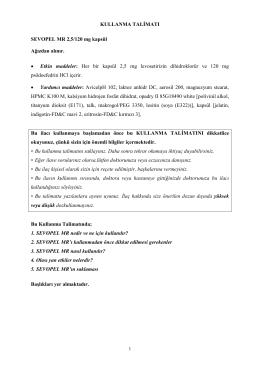 KULLANMA TALİMATI SEVOPEL MR 2,5/120 mg kapsül Ağızdan