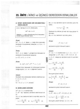 2. ve 3. Dereceden Denklemler Konu Anlatımı Örnek Soruları 1 indir