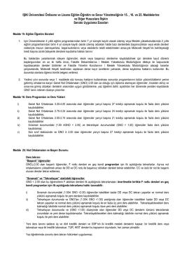 Işık Üniversitesi Lisans Eğitim-Öğretim ve Sınav Yönetmeliğinin 15