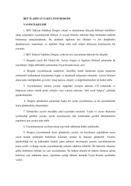 beü ilahiyat fakültesi dergisi yayın ilkeleri