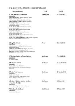 2012 –2013 eğitim-öğretim yılı etkinlikleri