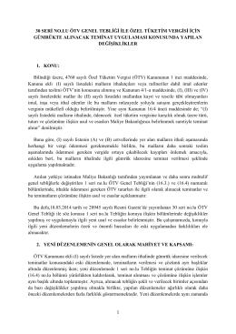 30 SERİ NO.LU ÖTV GENEL TEBLİĞİ İLE ÖZEL