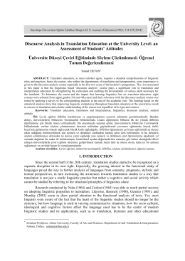 Discourse Analysis in Translation Education at the University Level