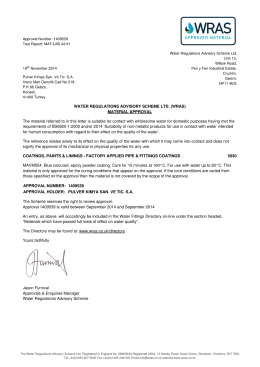 5030 WATER REGULATIONS ADVISORY SCHEME LTD. (WRAS