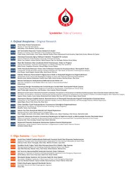 İçindekiler (Table of Contents) A. Orjinal Araştırma / Original
