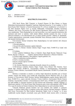 Ön Mali Kontrol - Mehmet Akif Ersoy Üniversitesi Strateji Geliştirme