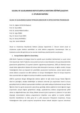2. Oturum Raporu - İstanbul Üniversitesi