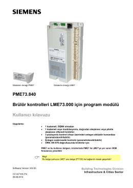 PME73.840 Brülör kontrolleri LME73.000 için program