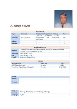Lect.A.Faruk Pinar - Celal Bayar Üniversitesi