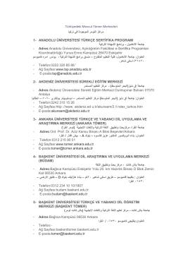 Türkiyedeki Mevcut Tömer Merkezleri ﻣراﮐز اﻟﺗوﻣر اﻟﻣوﺟودة ﻓﻲ ﺗرﮐﯾﺎ 1