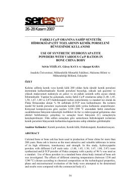 FARKLI Ca/P ORANINA SAHİP SENTETİK
