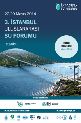 Duyurular İkinci Duyuru - 3. İstanbul Uluslararası Su Forumu