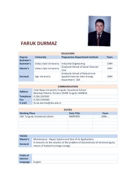 Asst.Prof.Dr.Faruk DURMAZ - Celal Bayar Üniversitesi
