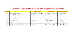 2013-2014 ıv. liselerarası matematik bilgi yarışması final sonuçları