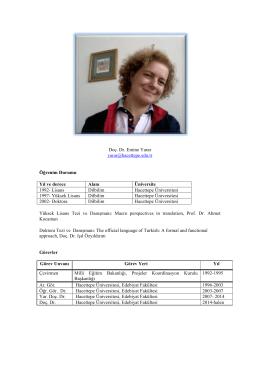 Doç. Dr. Emine Yarar - İngiliz Dilbilimi Bölümü