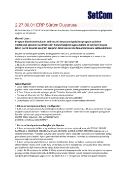 Logo ERP Ürünleri V2.27.00.01 Sürüm Güncelleme Bilgileri