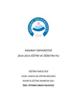 aksaray üniversitesi 2014-2015 eğitim ve öğretim yılı