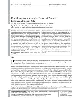 Kalıtsal Methemoglobinemide Preoperatif Anestezi