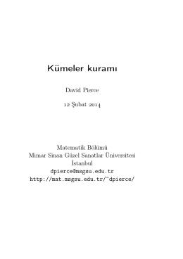 Kümeler kuramı - Matematik Bölümü