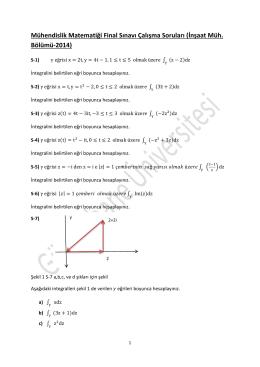 Mühendislik Matematiği Final Sınavı Çalışma Soruları (İnşaat Müh