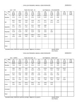 29/09/2014 pazartesi gününden geçerli ders programları