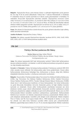 PB–265 Türkiye Herbaryumlarına Bir Bakış
