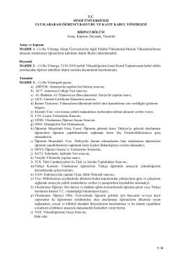 Sinop Üniversitesi Uluslararası Öğrenci Başvuru ve Kayıt Kabul
