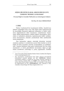 BİLİMSEL YAYIM HAKKI - Journal
