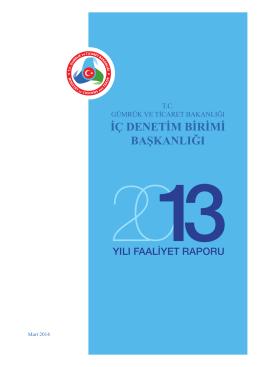 2013 Yılı Faaliyet Raporu - Gümrük ve Ticaret Bakanlığı İç Denetim