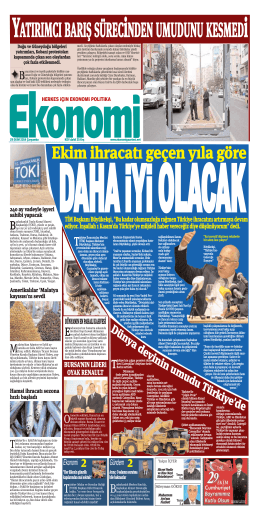 29 EKİM 2014 - Ekonomi Gazetesi
