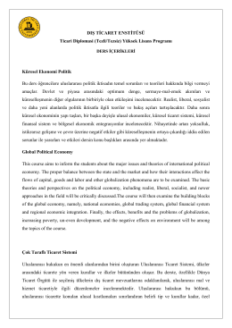 DIŞ TİCARET ENSTİTÜSÜ Ticari Diplomasi (Tezli/Tezsiz) Yüksek